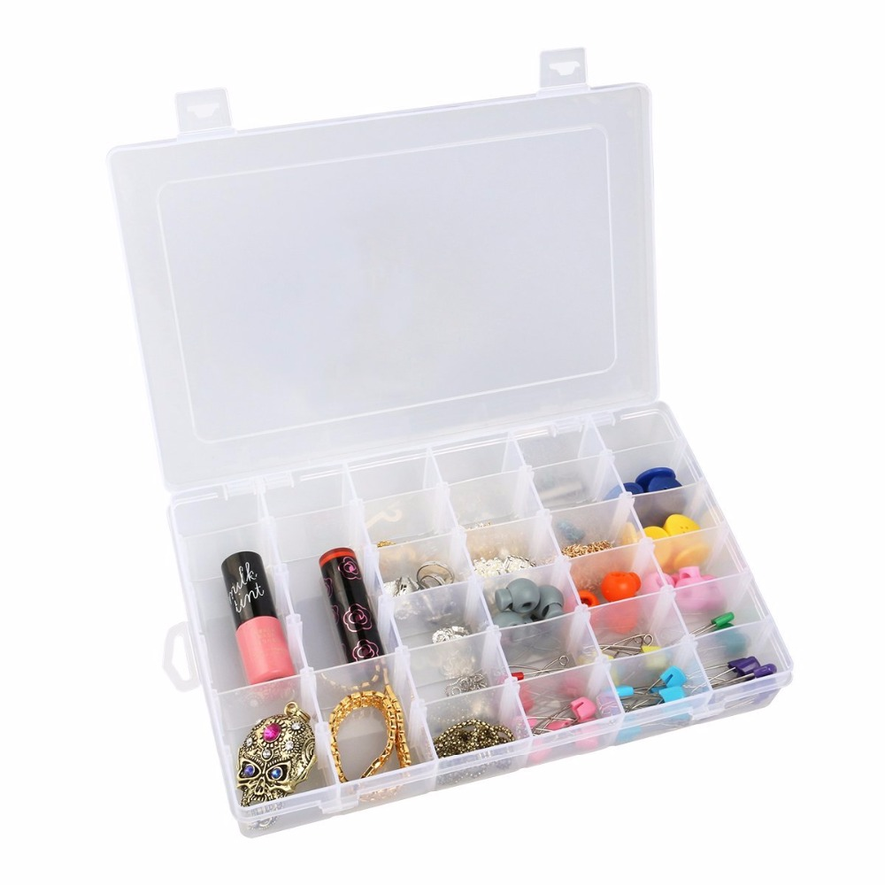 Clear Plastic Jewelry Box Organizer Storage Container Carrying Cases with Adjustable Dividers 36 Grids