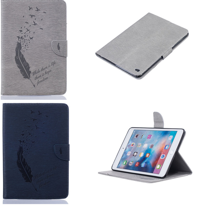 BF For Apple Ipad Mini 4 Cases Feather Style Wallet Flip Stand Card Slots PU Leather +TPU InsideTablet Back Cover For Ipad Mini4