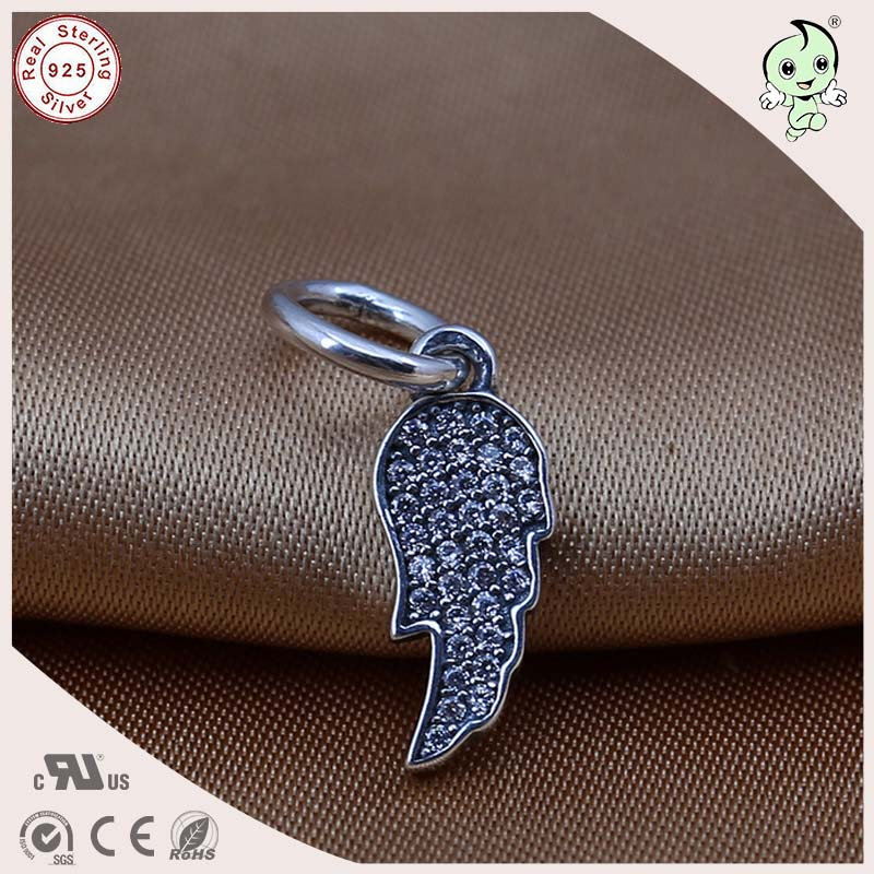 Good Quality Popular CZ Paving Retro 925 Sterling Silver Wing Design Pendant Charm Fitting European Famous Snake Chain